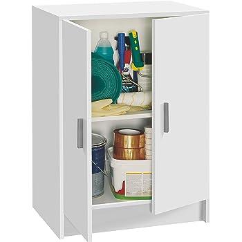 Habitdesign 005149O - Mueble Armario Multiusos bajo 2 Puertas, Color Blanco, Medidas: 59 cm (Largo) x 80 cm (Alto) x 37 cm (Fondo): Amazon.es: Hogar
