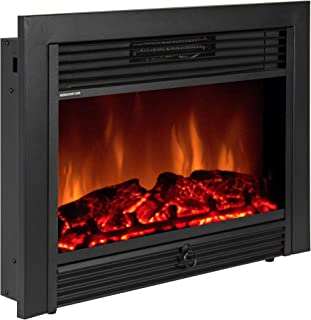 """Best Choice Products VD-51075WH Embedded Fireplace Electric Insert Heater Glass View Log Flame Remote Home, 28.5"""""""