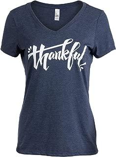 Thankful | Grateful Gratitude Positive Message Blessed V-Neck T-Shirt for Women