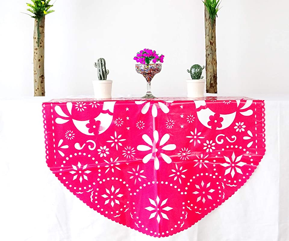 Pink Plastic Picado Fiesta Table Decoration 39X36 Inches Fiesta Party Supplies Mexican Weddings Bridal Showers Baby Showers