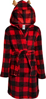 Image of Boys Red Plaid Robe with Reindeer Antlers