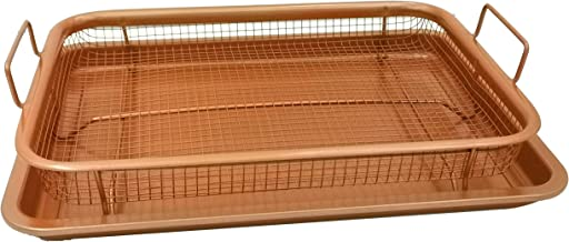 Oven Crisper Tray – Uses Hot Air to Crisp and Fry Food Without Oil or Unhealthy Fats - Carbon Steel Pan, Non Stick Grill B...