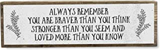 Always Remember You are Braver Than You Think Stronger Than You Seem and Loved More Than You Know - Handmade Metal Wood In...