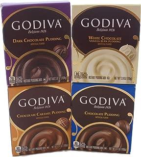 Variety Pack - Godiva Pudding Mix (3.9oz) - Chocolate, Dark Chocolate, Chocolate Caramel, White Chocolate