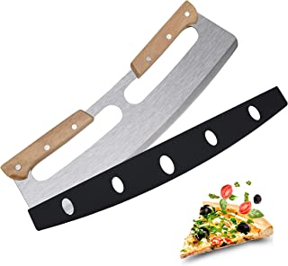 """AKGUNDA 14"""" Premium Pizza Cutter Rocker Style, Very Sharp Stainless Steel Pizza Knife Slicer Blade with Cover, Safer with ..."""