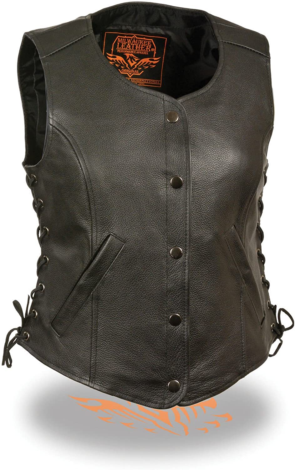 Milwaukee Ladies Motorcycle Round Neck Classic BLK Leather Vest W 2 Gun Pockets Side Lace