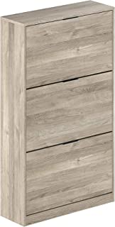 Marca Amazon -Movian Inari Modern - Armario zapatero de 3 puertas 25 x 75 x 128 cm (Efecto Roble)