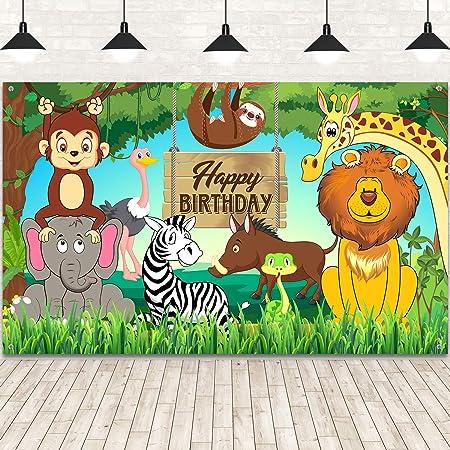 Decoraciones de Fiesta de Cumpleaños Temáticas de Animales de Selva, Telón de Fondo Impreso Happy Birthday Telón de Fondo de Tela Extra Grande con Elements de Safari Animal Fondo de Banner de Bosque
