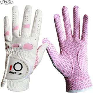 Amy Sport Golf Gloves Women Left Hand Right All Weather Rain Grip Value 2 Pack, Ladies Soft Pink Glove Lh Rh Both Hand Fit Size Small Medium Large XL