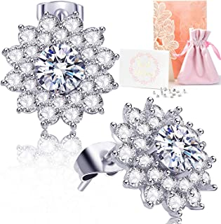 Roslynd Earring Studs for Women//Girl Stud Earrings for Women Girl with Hypoallergenic Cubic Zirconia /& White Gold Plating