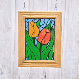 Tulip Stained Glass Mosaic Suncatcher for Window