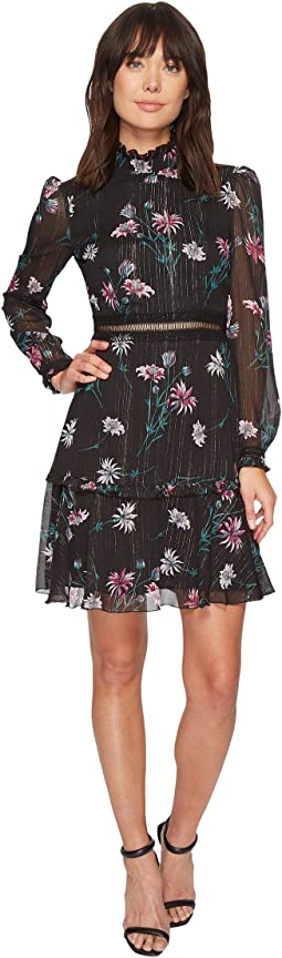 Donna Morgan - Printed Chiffon Fit and Flare Dress w/ Ruffle Neck and Stitching Detail
