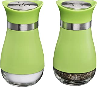 MITBAK Salt and Pepper Shakers (2-Pc. Set) Elegant w/Clear Glass Bottom | Compact Cooking, Kitchen and Dining Room Use | Classic, Refillable Design (Green)