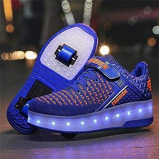 XPF Niños Niñas Patines De Ruedas LED Zapatos con Ruedas Zapatillas con Luz LED Zapatillas De Skate Técnicas De Doble Rued...