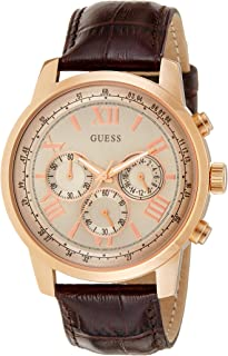 Guess Style W0380G4 for Men - Analog Casual Watch, Stainless Steel Case With Leather Band