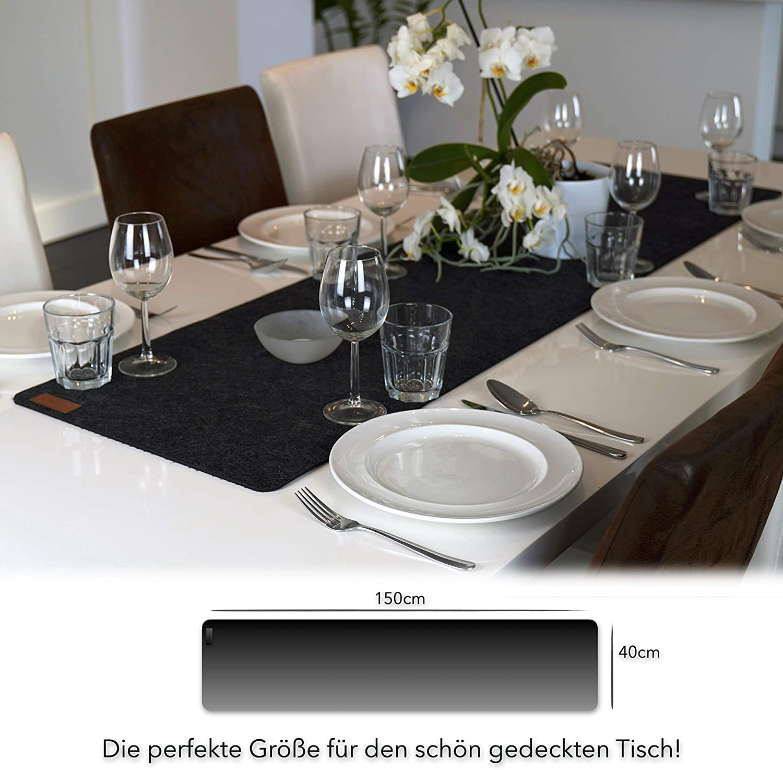 Ab-waschbar und Waschmaschinenfest Dunkel-Grau//Anthrazit MAHEWA/® Tischl/äufer aus Filz rutschfest 150x29cm