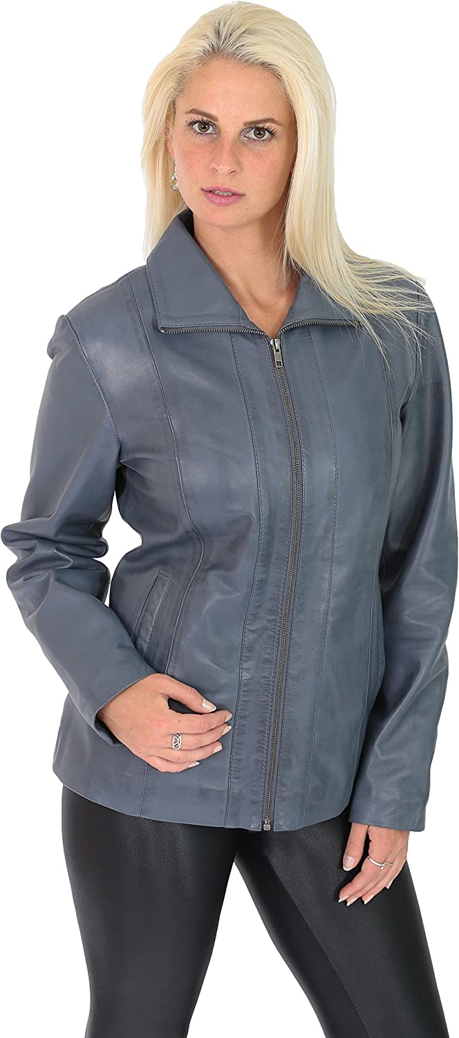 A1 FASHION GOODS Women Classic Fitted Zip Up Biker Real Leather Jacket Nicole bluee