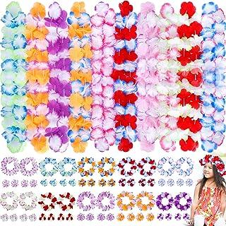 INNOCHEER Hawaiian Leis 80Pcs, Hawaiian Party Decorations of Flowers Necklaces, Headbands and Wristbands - Luau Party Supp...