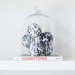 NestSet - Decorative Blue White Ceramic Chinoiserie Spheres, Glass Bell Jar (Cloche), and Hamptons Designer Book for Bookshelf, Coffee Table, Side Table - Home Decor Kit (8 Item Set)