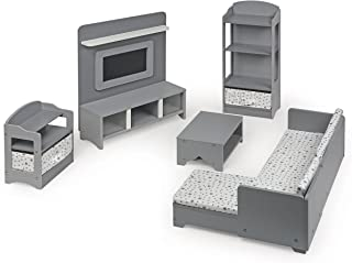 Badger Basket 10 Piece Media Room Furniture Play Set for 18 Inch (fits American Girl Dolls), Gray/White