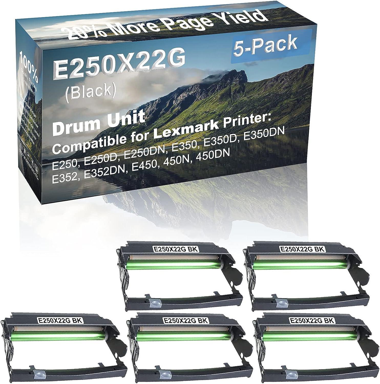 5-Pack Compatible E250X22G Drum Kit use for Lexmark E250, E250D, E250DN, E350 Printer (Black)