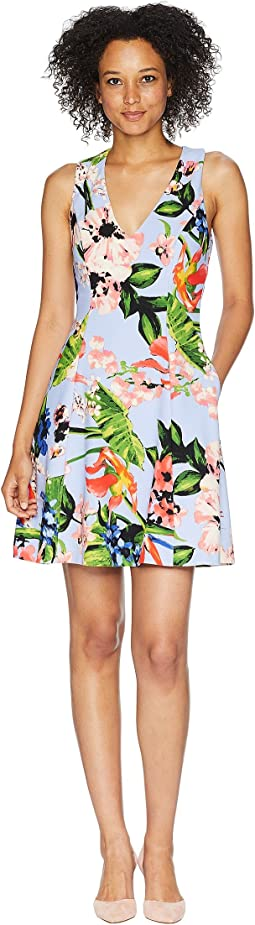 Printed Scuba Crepe Fit and Flare Dress