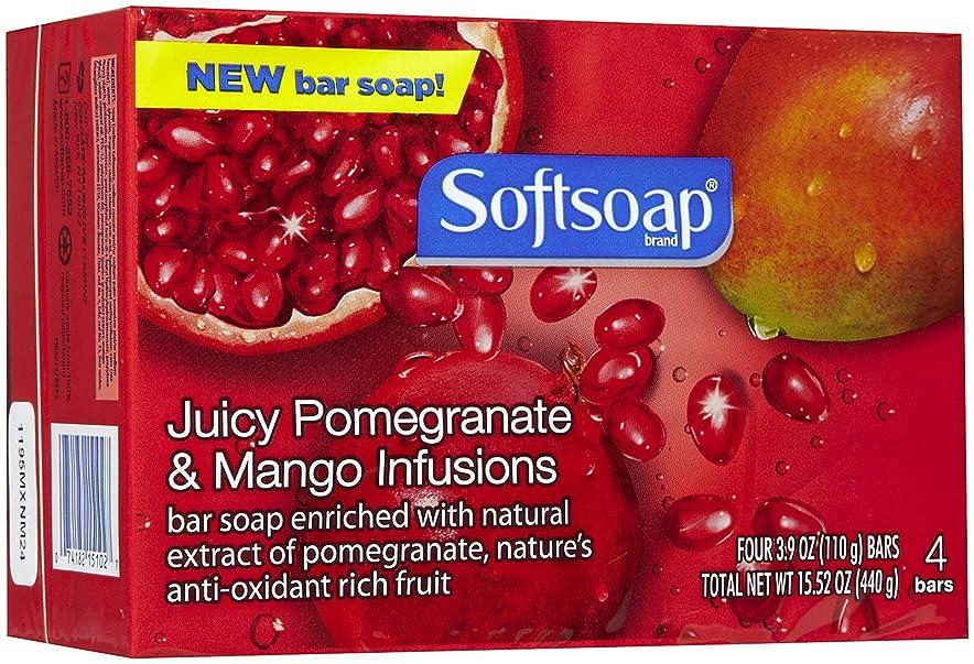 ちらつき予備サロンSoftsoap Pomegranate & Mango Infusions Bar Soap-4 ct