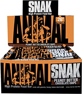 Animal Snak - High Protein, Whole Food Meal Bar - Made with Real Foods and Easily digestable - Peanut Butter Chocolate Chips - 12 Bars
