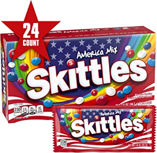 SKITTLES America Mix Red, White & Blue Patriotic Candy, 2-Ounce Full Size Bag (Pack of 24)