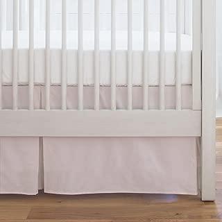 Carousel Designs Pale Pink Mini Stripe Crib Skirt Single-Pleat 17-Inch Length - Organic 100% Cotton Crib Skirt - Made in The USA