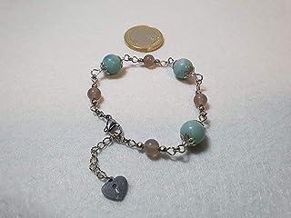 Bracciale in acciaio con perle naturali di amazzonite ed agata grigia