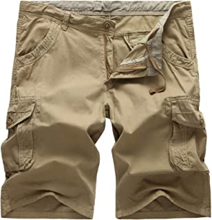 AOYOG Mens Cargo Shorts Loose Fit Big and Tall Cargo Short Cotton