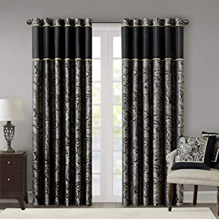 Black Curtains For Living Room , Traditional Back Tab Curtains For Bedroom , Aubrey Jacquard Rod Pocket Window Curtains , 50x84