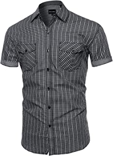 Style by William Men's Printed Cotton Stripe Button Down Short Sleeve Shirt