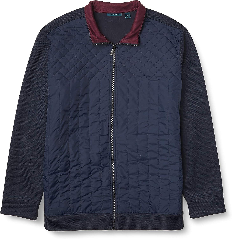 Perry Ellis Men's Quilted Front Full-Zip Jacket