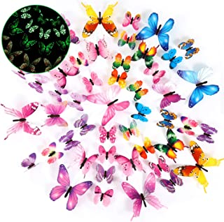 Outus 48 Pieces Luminous 3D Butterfly Wall Decors Removable Butterfly Stickers DIY Art Crafts Decor for Bedroom Home Decorations