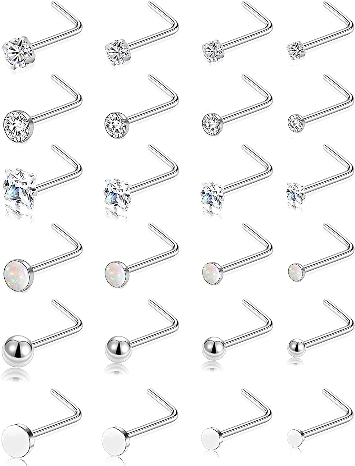 Tornito 24Pcs Nose Studs Stainless Steel Flat Ball CZ Opal Bone L Screw Shaped Nose Body Piercing Jewelry for Men Women 1.5-2-2.5-3 mm 20G