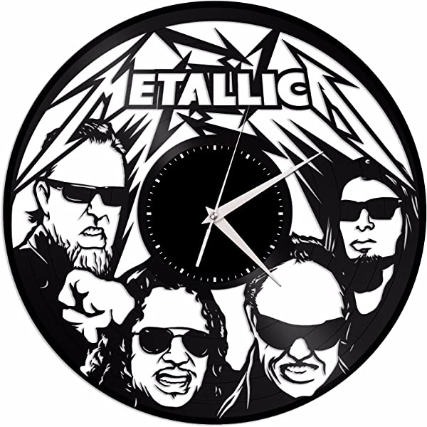 VinylShopUS Metallica Vinyl Wall Clock Music Bands And Musicians Themed Retro Decor
