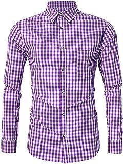 KOJOOIN Trachtenhemd Slim fit Herren kariert Hemd Freizeithemd Langarmhemd Hemd Bestickt Baumwolle - für Oktoberfest, Karneval, Business, FreizeitVerpackung MEHRWEG
