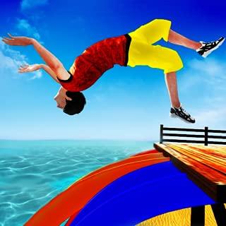 Sky Water Slide Flip Adventure Diving Stunts, Car Stunt Racing, Extreme Acrobatics, Amusement Park, Up The Hill Fun Driving Games