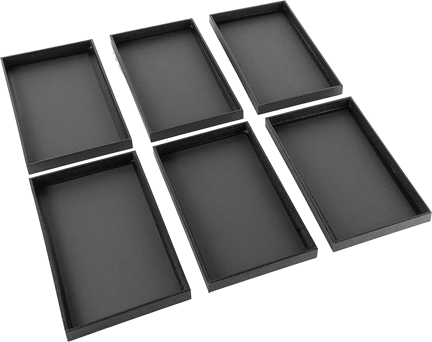 Beadaholique 6-Piece Faux Leather Jewelry Display/Showcase Displays Trays, Black : Clothing, Shoes & Jewelry