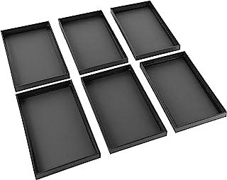 Beadaholique 6-Piece Faux Leather Jewelry Display/Showcase Displays Trays, Black