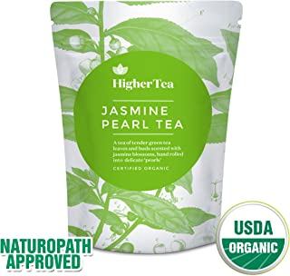 Premium Jasmine Dragon Pearls - Organic Green Loose Leaf Tea - Beautifully hand-rolled jasmine leaves infused with Blossom and Aroma from Higher Tea