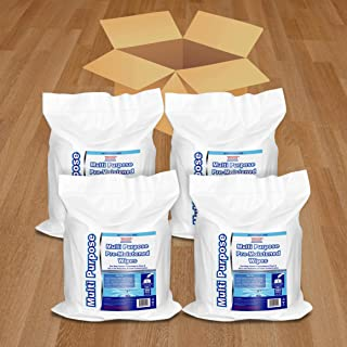 Wet Wipes Bulk Buy - 4 x 800 Count Refill Bags (3200 Wipes) - for Upward Pull Dispenser Ideal of Public use