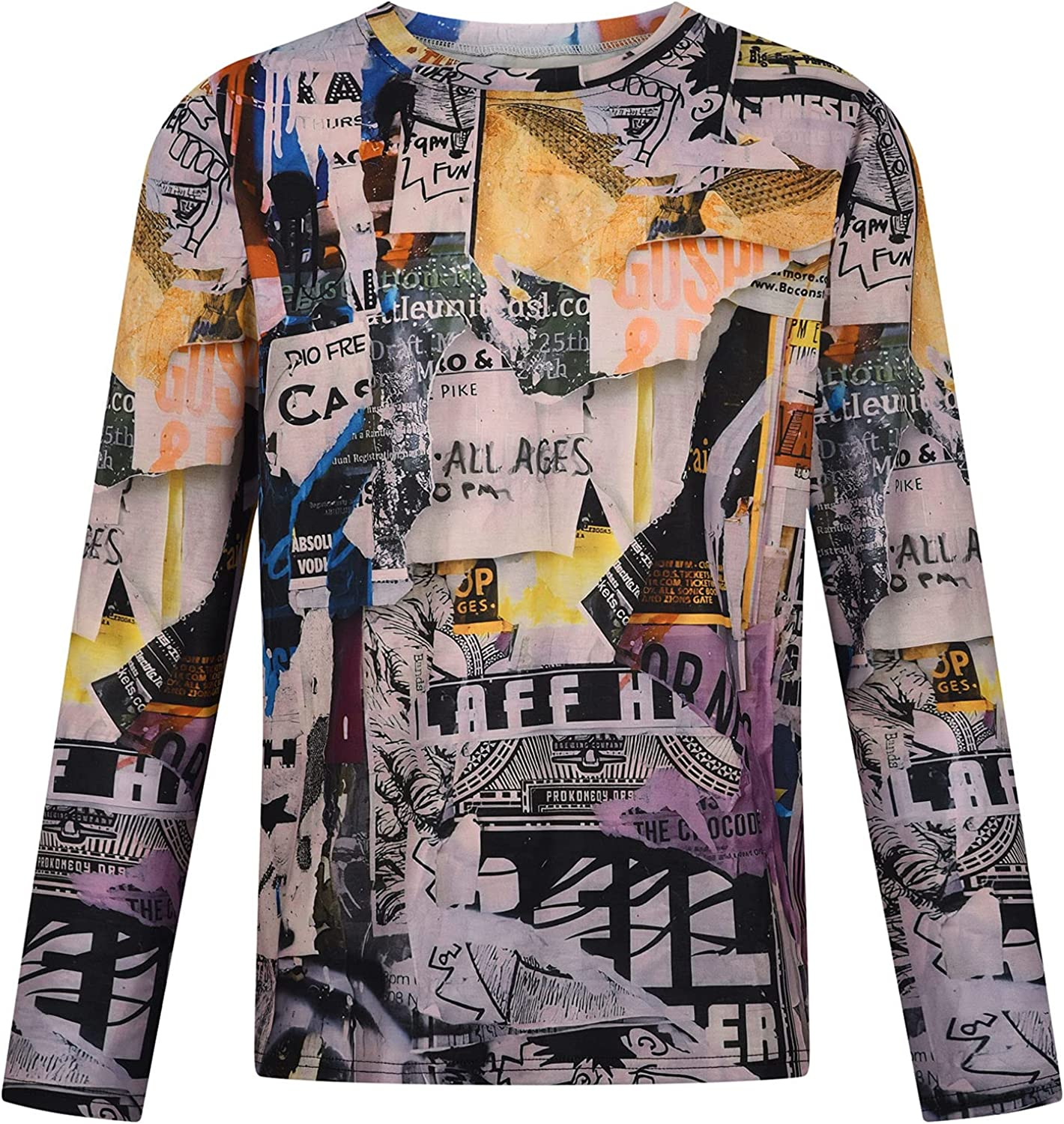 Men's Long Sleeve T-Shirt Fashion Printing Color Graphic Round Neck Casual Tee Soft Comfortable Slim Fit Top