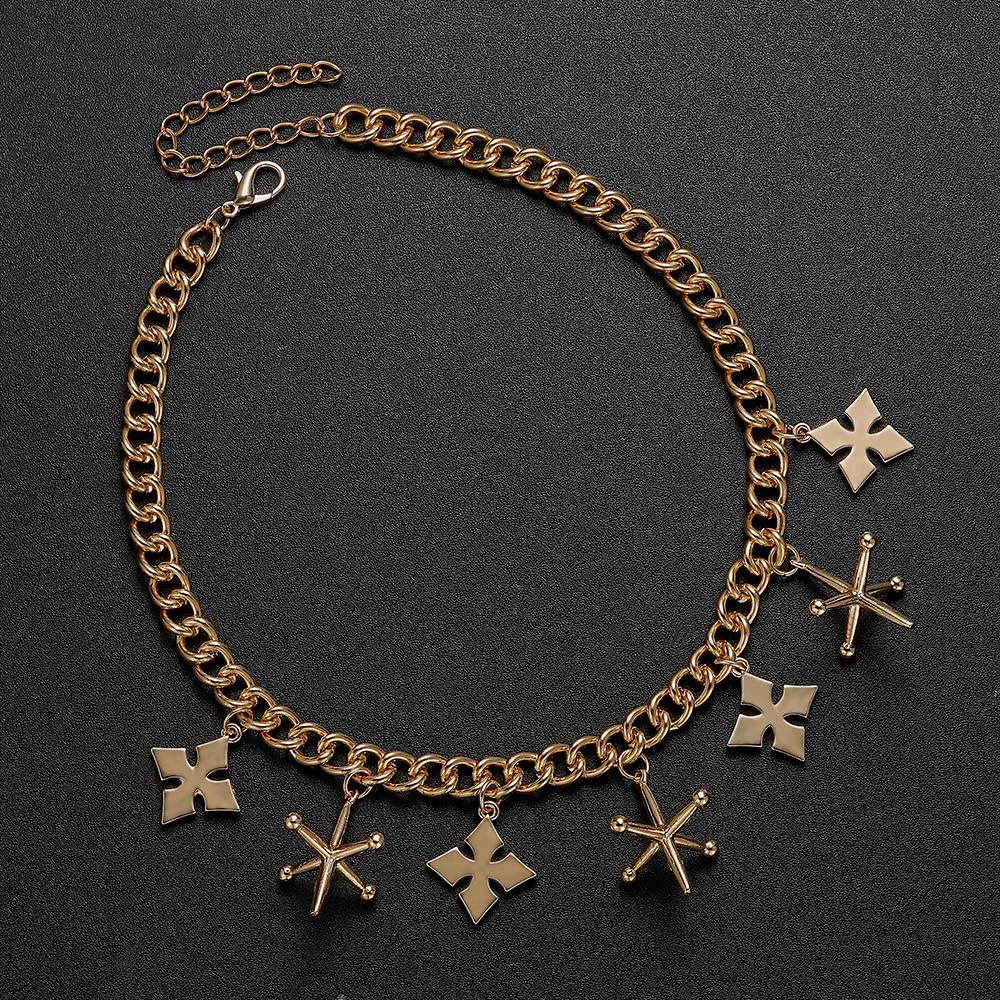 hanreshe Harley Quinn Birds of Prey Cosplay Costume Gold Metal Letter Pendant Fashion Long Necklace for Women Fashion Decoration