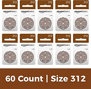 AmazonBasics Size 312 Hearing Aid Batteries, 60-Pack
