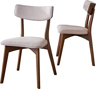 Christopher Knight Home Molly Mid Century Modern Light Beige Dining Chairs with Natural Walnut Finished Rubberwood Frame (Set of 2)