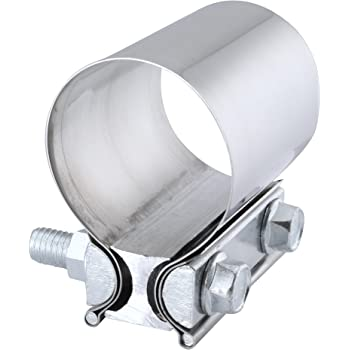 EVIL ENERGY 2.25 Inch 2 1/4 Butt Joint Exhaust Band Clamp Sleeve Stainless Steel