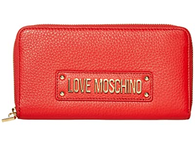 LOVE Moschino Love Logo Zip Wallet (Red Natural Grain Calf) Handbags